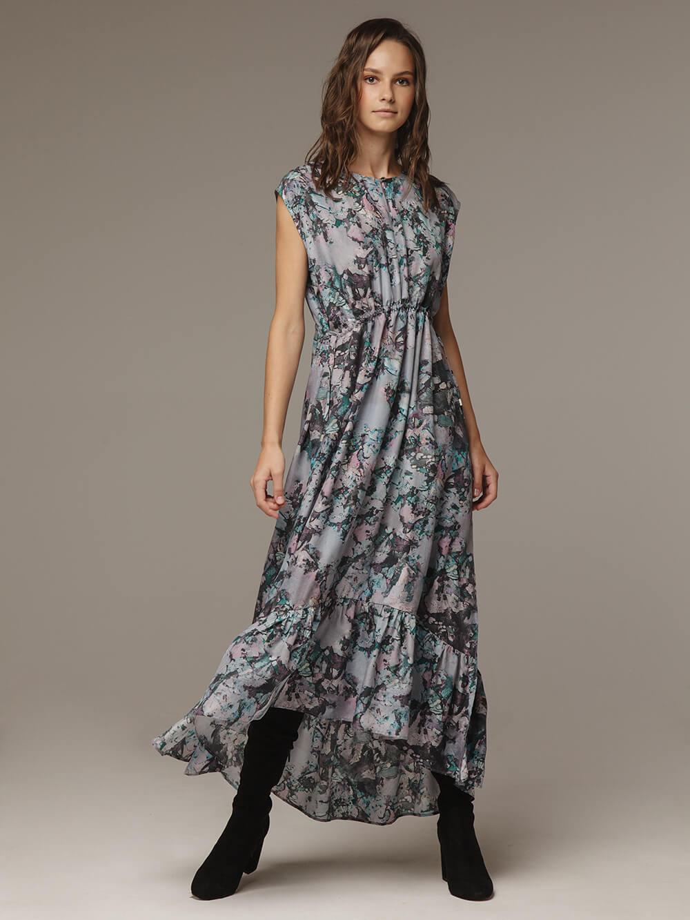 Женское принтованное платье из 100% шелка - фото 1