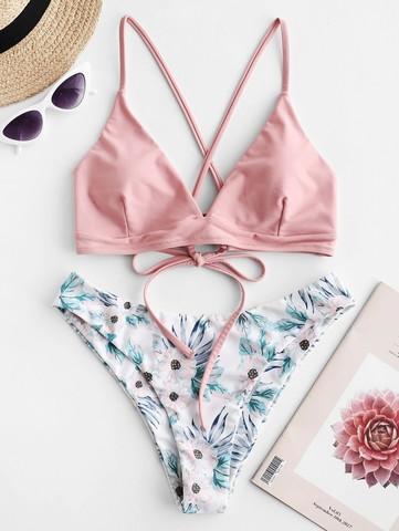 купальник раздельный с лямками нежно розовый с цветочным принтом Soft Pink 1