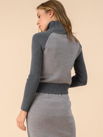 Женский свитер темно-серого цвета из 100% шерсти - фото 2