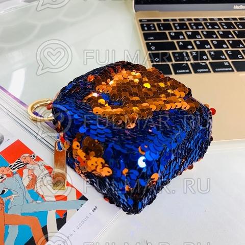 Ключница-брелок в двусторонних пайетках Синяя-Рыжая
