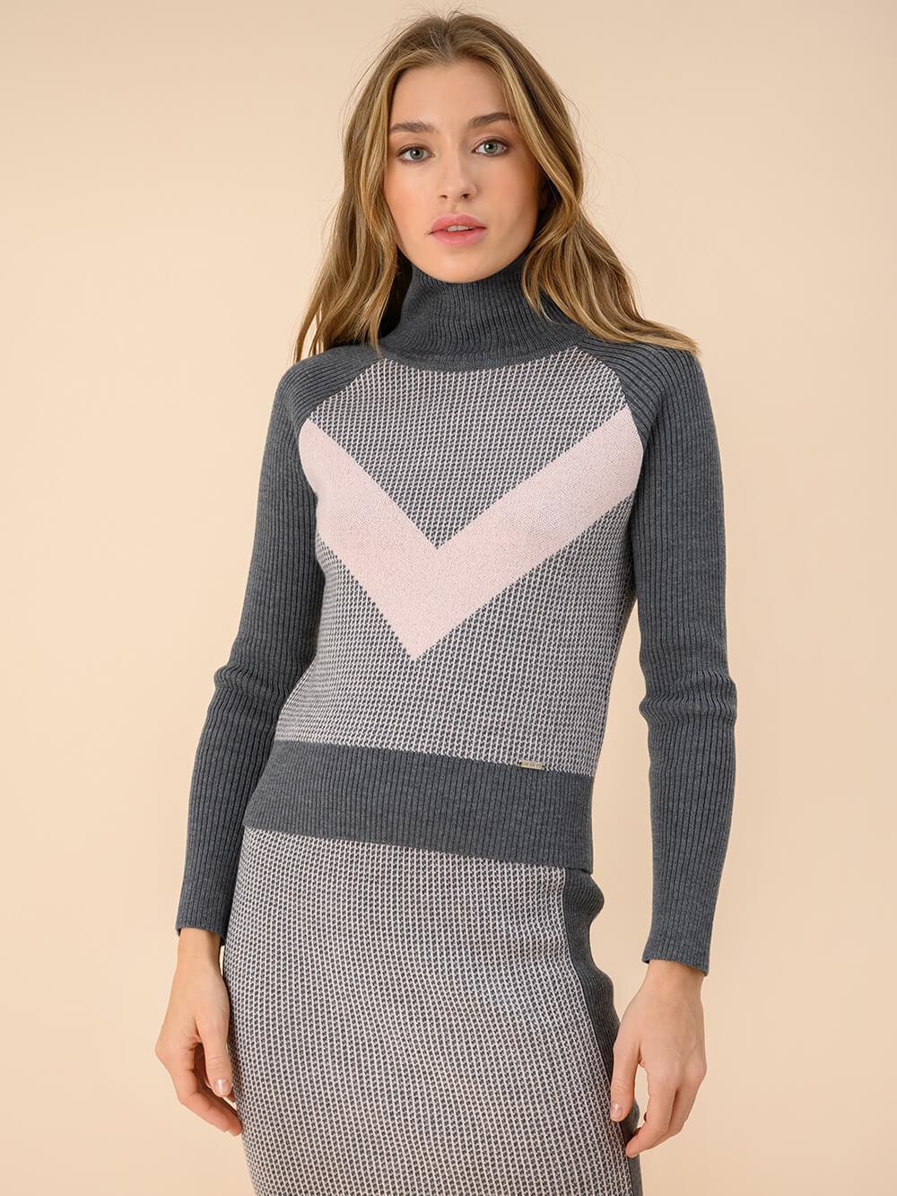 Женский свитер темно-серого цвета из 100% шерсти - фото 1