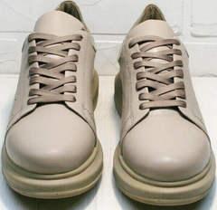 Молодежные женские кроссовки туфли на шнурках Markos 1523 All Beige.