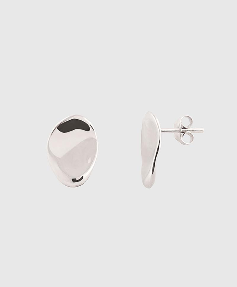 Серебряные овальные серьги-пусеты