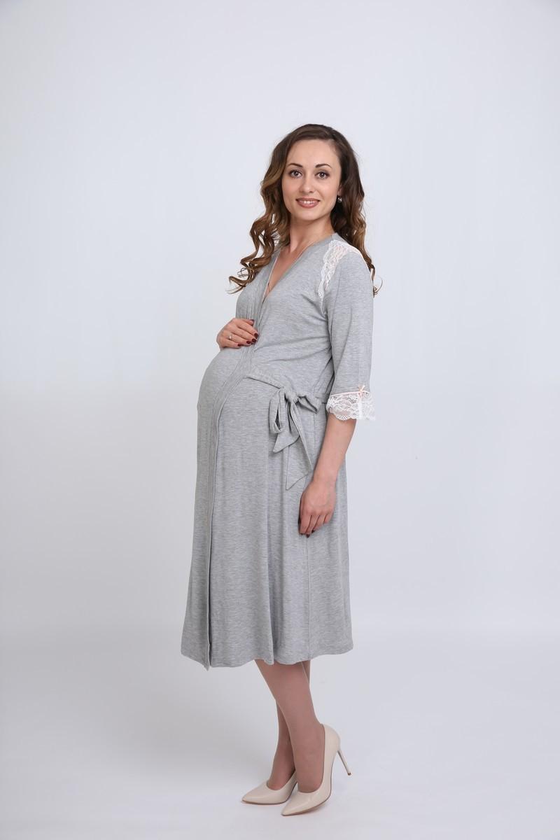 Халат для беременных 09715 серый