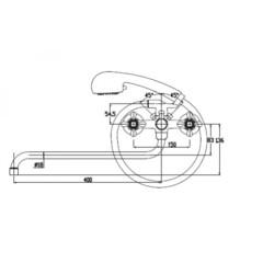 Смеситель KAISER Carlson Style 44255-1 Bronze для ванны схема