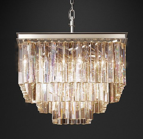 Подвесной светильник копия 1920S Odeon Clear Glass Fringe Square 3-Tier Chandelier by Restoration Hardware