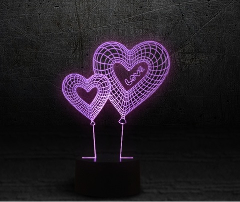 3D светильник Два сердца — 3D light Two Heart