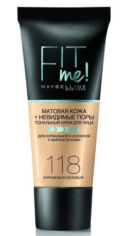 Maybelline Fit Me тональный крем матовая кожа + невидимые поры №118 карамельно-бежевый