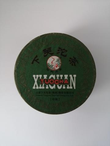 Шэн Пуэр Лю Хэ от фабрики Сягуань, 2013 год, точа 100 грамм