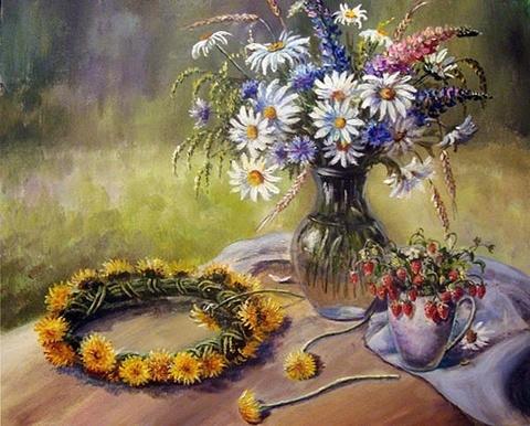 Алмазная Мозаика 40x50 Венок из одуваньчиков и букет цветов