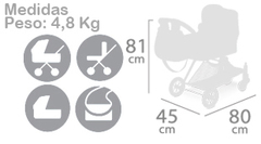DeCuevas Коляска трансформер 3 в 1 серии Кэрол, 81см (80727)