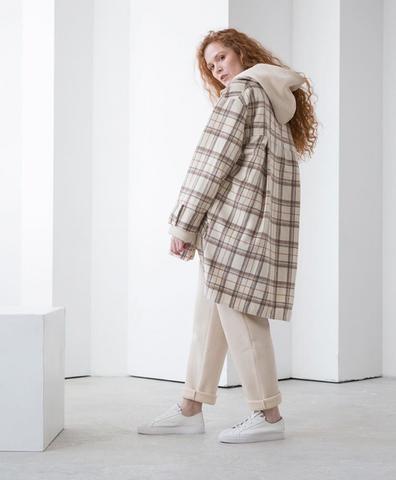 Куртка-рубашка бежево-молочная клетка