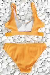 купальник желтый в рубчик раздельный с лямками yellow ribbed sun 3