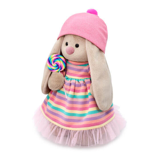 Зайка Ми в полосатом платье с леденцом