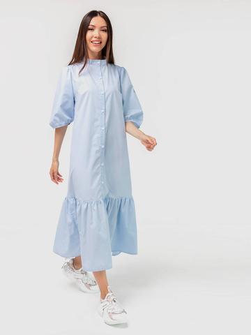 Платье-рубашка хлопковое голубое