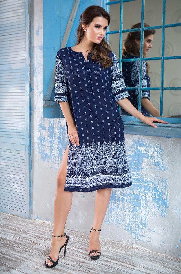 Сорочки ночные женские Туника  женская MIA-MIA  Leona ЛЕОНА 16215 16215_blue_big.jpg