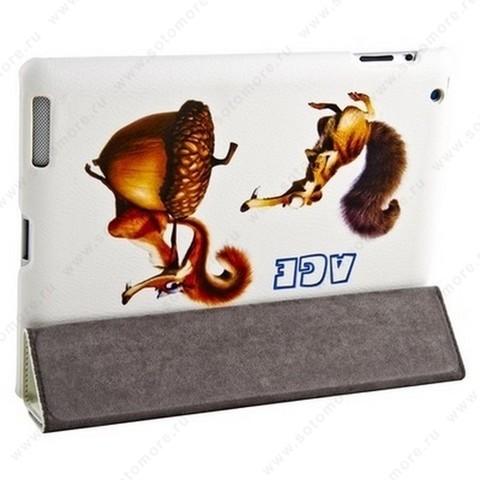 Чехол-книжка Jisoncase для Apple iPad 4/ 3/ 2 с рисунком белый вид 45
