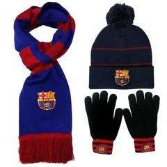 Комплект вязанная шапка с помпоном, шарф и перчатки с логотипом ФК Барселона (Barcelona) черный
