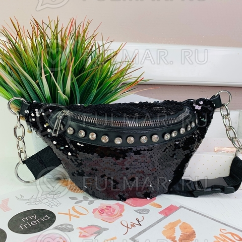 Поясная сумка летняя для девочки в пайетках со стразами меняет цвет Чёрный-Серебристый