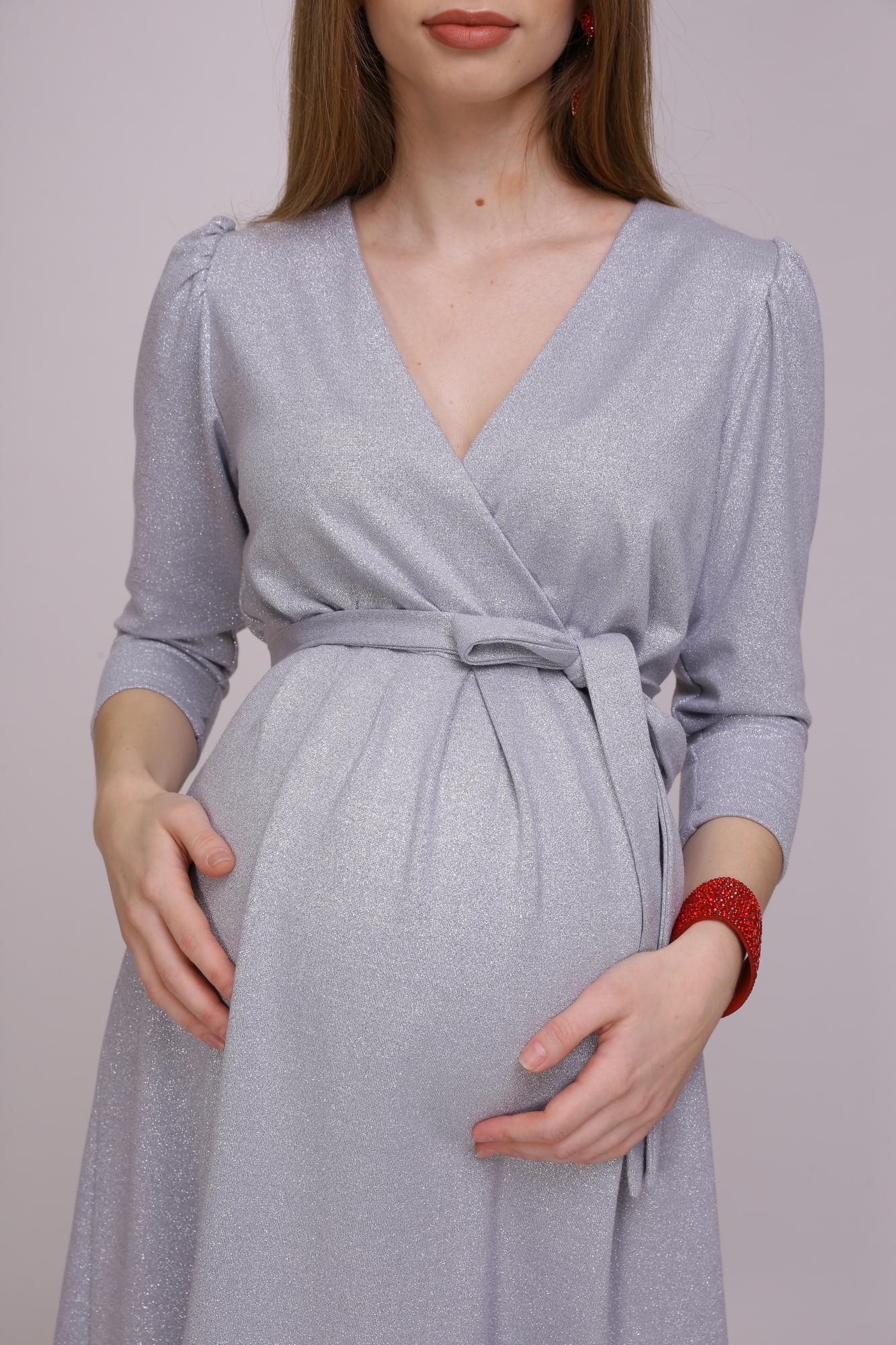 Фото платье для беременных Magica bellezza от магазина СкороМама, серый, серебро, размеры.