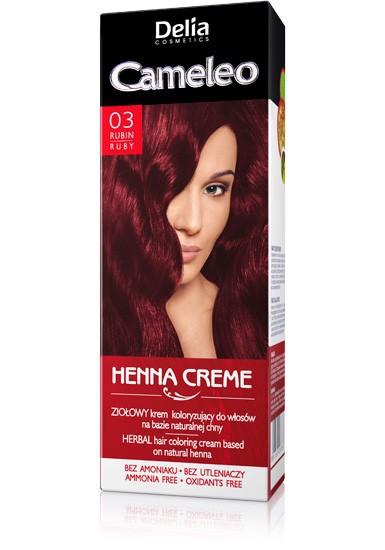 Delia cosmetics Травяная мусс краска для волос CAMELEO HENNA CREME тон 03 рубин