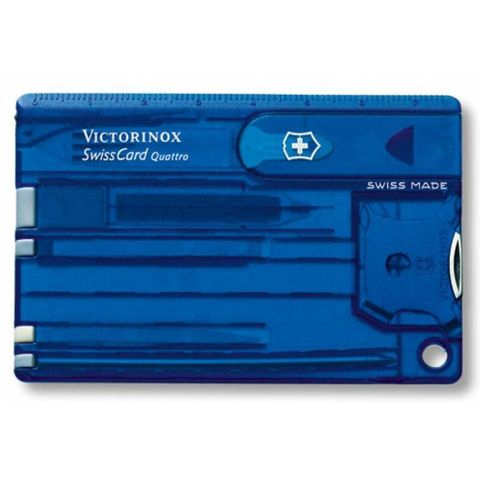 Швейцарская карта Victorinox SwissCard (0.7222.T2) Quattro Sapphire 13 функций прозрачный синий