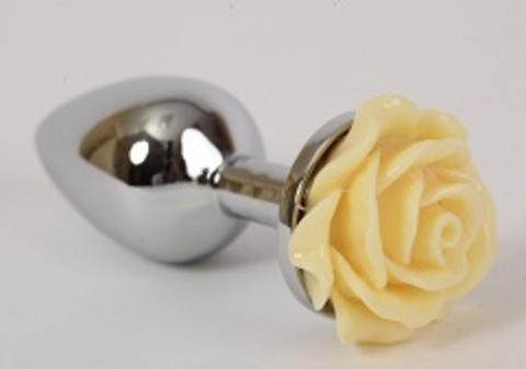 Анальная пробка металл средняя с розой желтая 8х3,5см 47187-1MM
