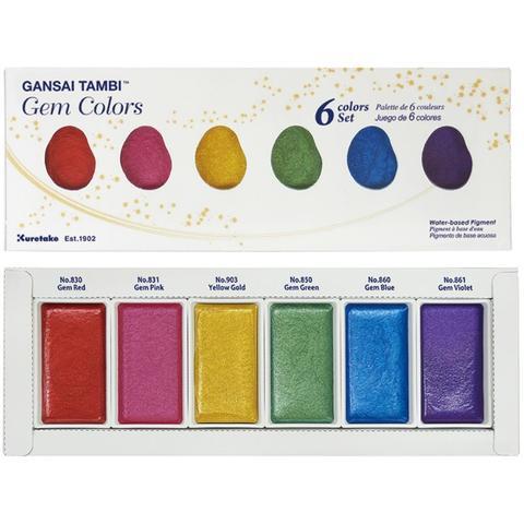 Профессиональная японская акварель Kuretake Gansai Tambi -Gem Colors- 6 цветов