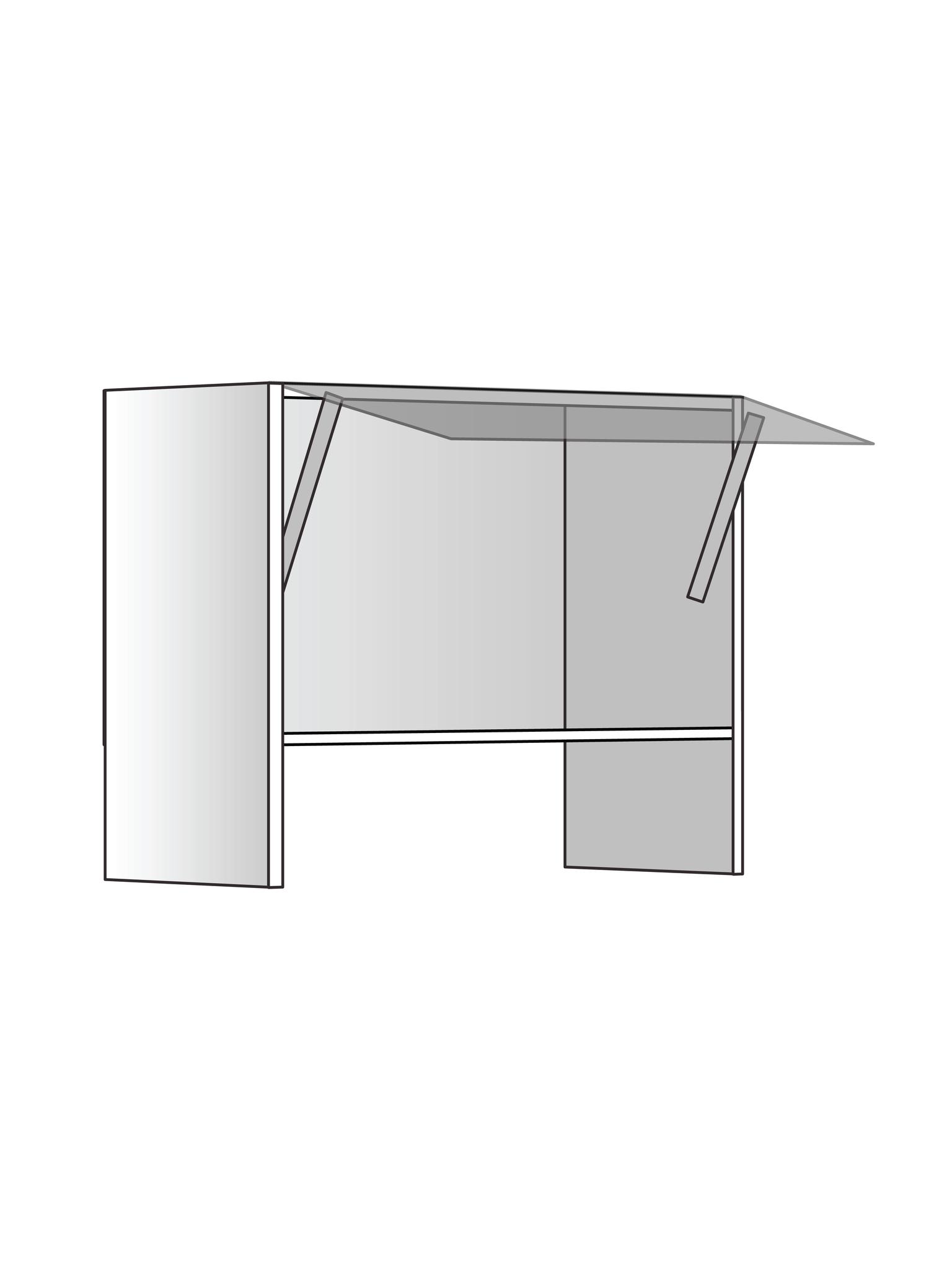 Верхний шкаф для вытяжки, 520Х600 мм