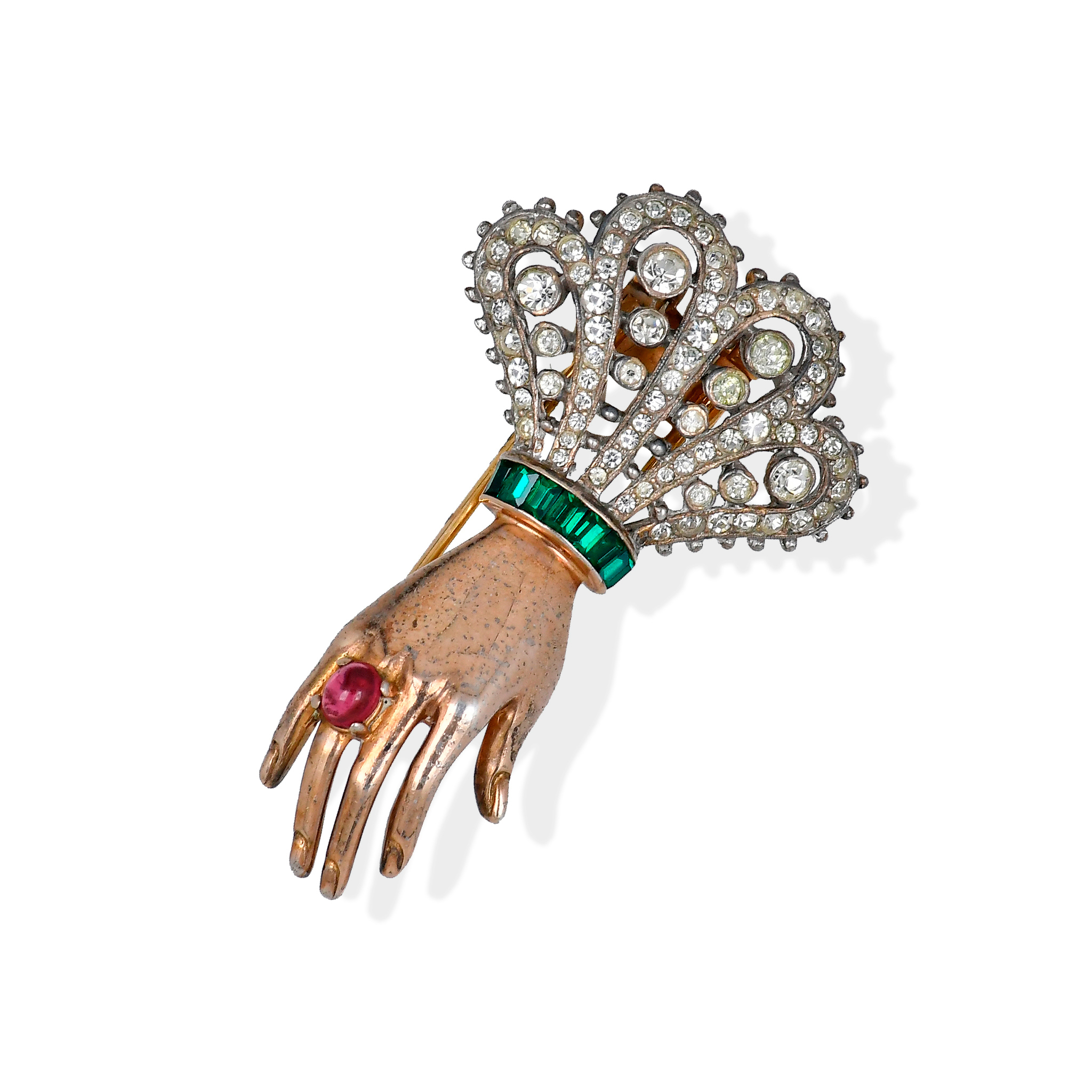 """Trifari """"Hand pin"""" designed by Alfred Philippe in 1944"""