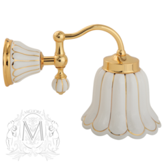 Светильник настенный, плафон керамика Migliore Olivia ML.OLV-60.631.BO.DO Белый/декор золото/зол.
