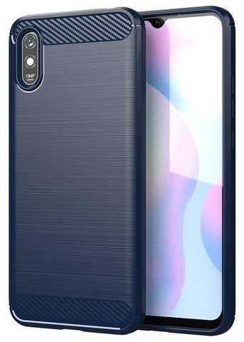 Чехол синего цвета на Xiaomi Redmi 9a, серии Carbon от Caseport