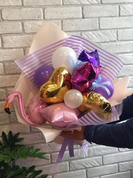 Шарики на палочках Крафтовый букет воздушных шаров Фламинго dqLHBW14jP4.jpg