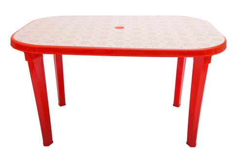 Пластиковый стол овальный с рисунком красный