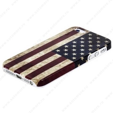 Накладка пластиковая для iPhone SE/ 5s/ 5C/ 5 флаг США под старину