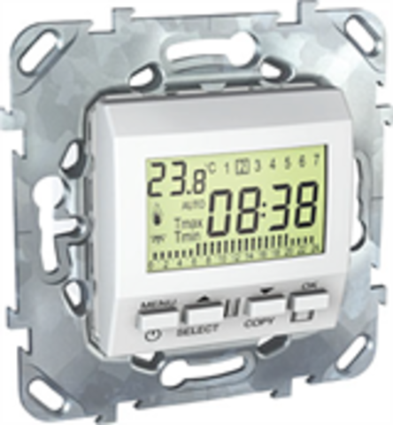 Терморегулятор недельный программируемый. Цвет Белый. Schneider electric Unica. MGU5.505.18ZD
