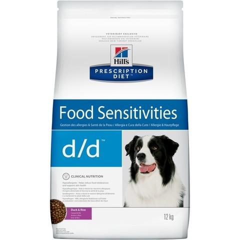 Hills Prescription Diet d/d  DUCK & RICE для взрослых собак при пищевых аллергиях с уткой и рисом 12 кг