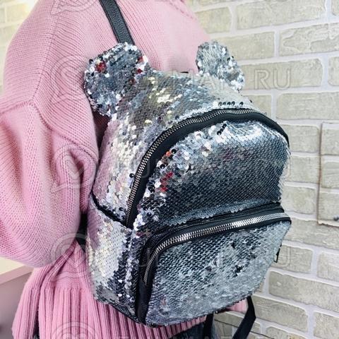 Рюкзак с круглыми ушками «Минни» в серебристых-зеркальных пайетках
