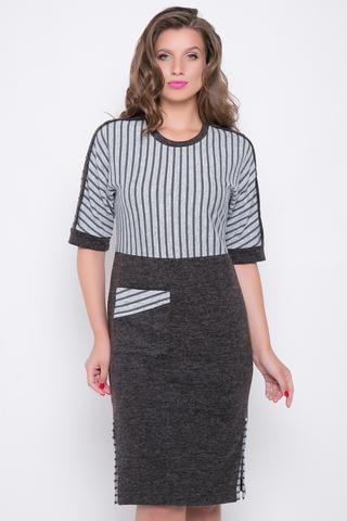 <p>Стильное платье из меланжевой ангоры с отделкой в модную полоску. Платье отрезное по линии талии, по бокам эффектные шлицы из отделочной ткани.</p>