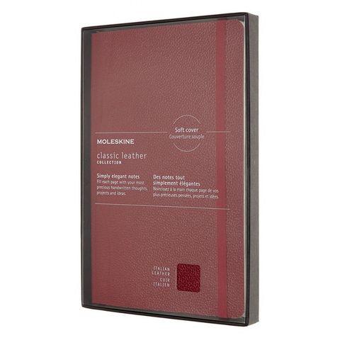 Блокнот Moleskine LIMITED EDITION LEATHER LCLH31HF1BOX Large 130х210мм натур. кожа 192стр. линейка твердая обложка красный