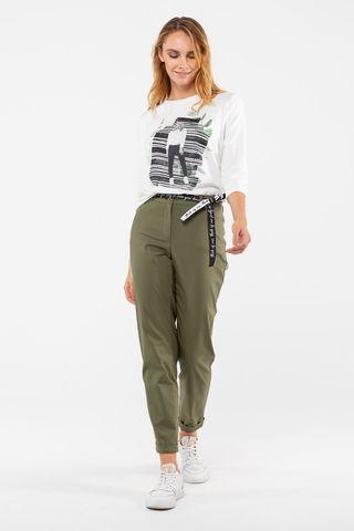 Фото прямые брюки цвета хаки с лампасами и боковыми карманами - Брюки А501-172 (1)