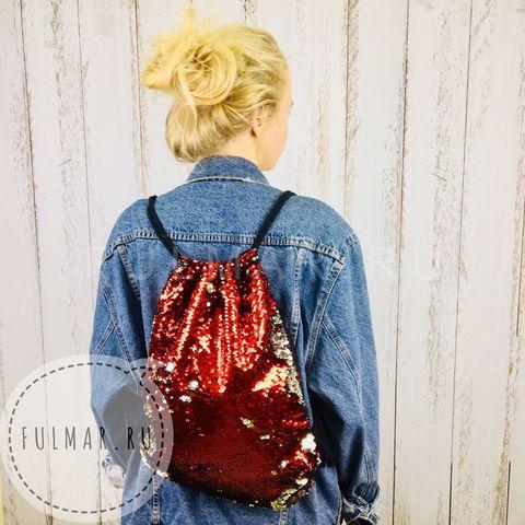 Мешок-рюкзак для сменной обуви  с пайетками меняющий цвет Красный-Серебристый