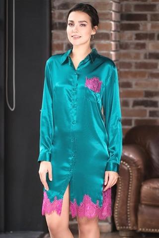 Роскошная шелковая рубашка Bella изумрудная