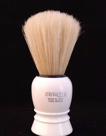 Помазок для бритья Zenith,синтетический ворс,белая ручка