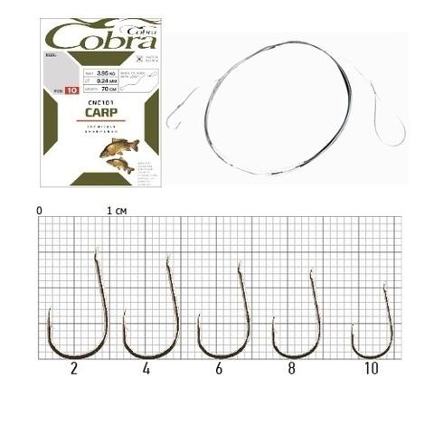 Крючки с поводком Cobra CARP 70 см, 0,18 мм, размер 6, упаковка 10 шт.