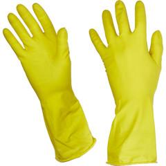 Перчатки латексные Paclan Practi с хлопковым напылением желтые (размер 8, M)