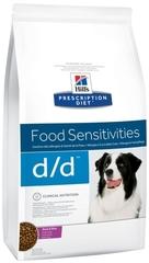 Ветеринарный корм для собак, Hill`s Prescription Diet d/d Food Sensitivities, с пищевыми аллергиями, с уткой и рисом