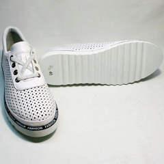 Кожаные летние туфли больших размеров женские Evromoda 215.314 All White.