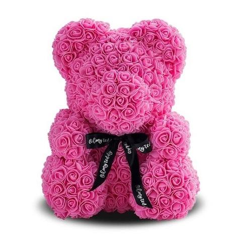 Мишка из роз (фоамиран), размер: 40см, цвет:розовый