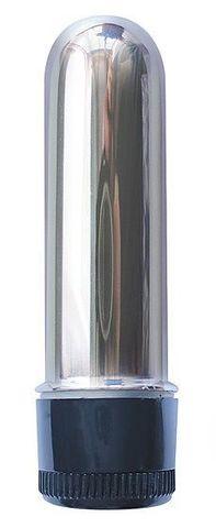 Серебристая гладкая вибропуля - 6,4 см.